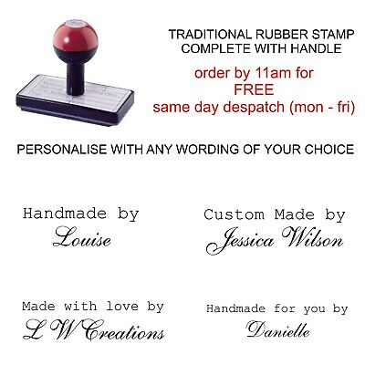 £8.75 • Buy Personalised Handmade By Rubber Stamp Customised With Your Name Business Company
