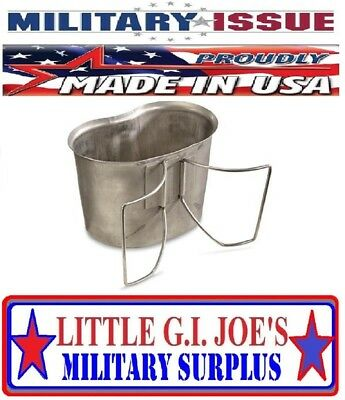 $ CDN12.09 • Buy GOOD Military Issue Stainless Steel CANTEEN CUP 1qt Canteen W/Butterfly Handles