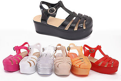 Womens Ladies Jelly Wedge Gladiator Summer Festival Sandals Flip Flops Size 3-8 • 3.49£