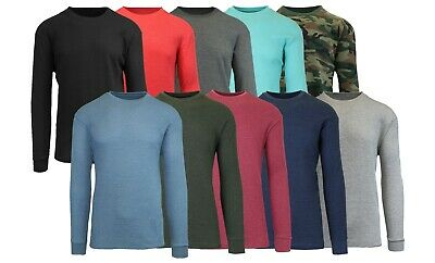 $11.49 • Buy Men's Long Sleeve Waffle Thermal Shirt Tee -Crew Neck Layering Color & Size NEW