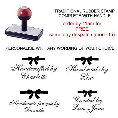 £8.75 • Buy Personalised Handmade By Rubber Stamp Customised Your Name And Bow Image Bespoke