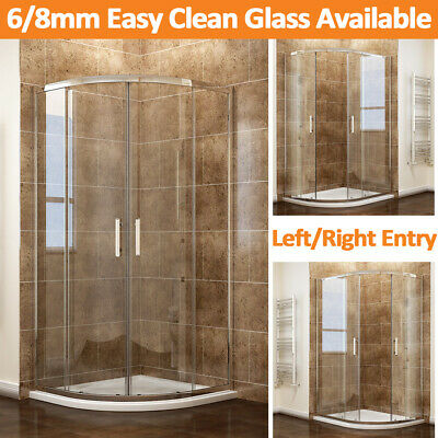 Quadrant Shower Enclosure  6/8mm Easy Clean Glass Cubicle Door+Tray Bathroom • 121.99£