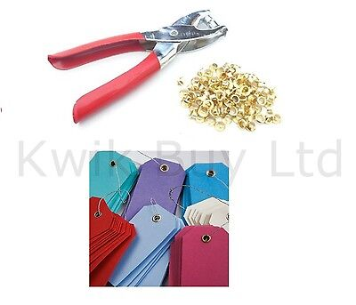 Heavy Duty Eyelet Pliers Hole Punch Complete Tool Kit Set With 100 Brass Eyelets • 3.49£