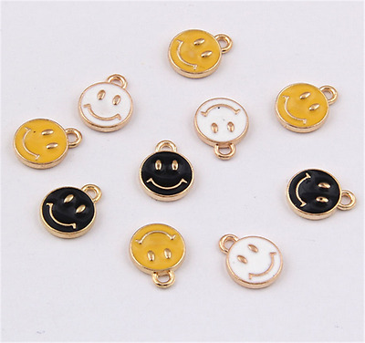PJ1465 10pc Charms Smiling Face Pendant Beads Necklace Jewellery Making Enamel • 1.59£