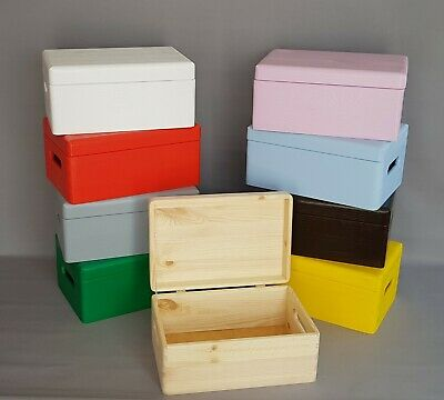 Wooden Box Storage Boxes Trunk Colours Boxes Chest Lid DIY Furniture Home Decor • 9.99£