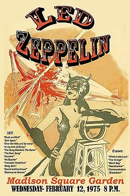 $12 • Buy Heavy Metal:  Led Zeppelin At Madison Square Garden Concert Poster 1975 12x18