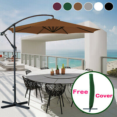 3M Garden Sun Shade Cantilever Hanging Banana Parasol Umbrella With Free Cover • 102.98£
