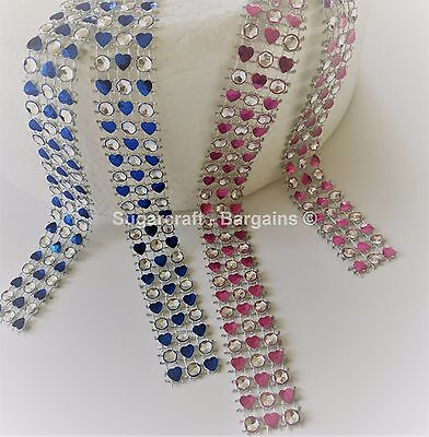 HEART Diamante Bling Pink / Blue Diamond Effect  Cake Craft Trim Ribbon 3 ROW • 0.99£
