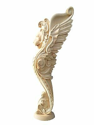 $299 • Buy Wooden Stairs Baluster Newel, Unique Carved  Gryphon Statue, Decorative Element.
