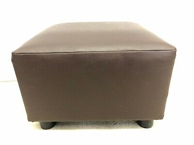 Footstool / Pouffe / Stool Brown Faux Leather British Made Fabric • 43.95£