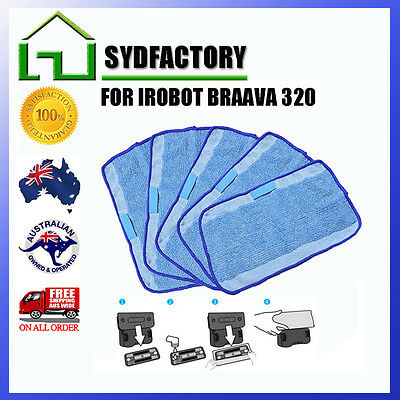 5xMicrofiber Mopping Cloth For IRobot Braava Mopping Robot 320 308T 4200 321 380 • 10.31£