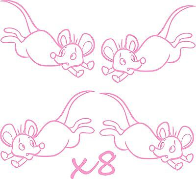 8 Vinyl Mice Stickers Decals  Ideal For Walls Furniture, Childrens Bedroom Etc • 2.99£