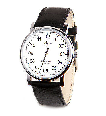 £33.98 • Buy One Hand Luch Mechanical Wristwatch Men's Leather Vintage White 77471760 RUS