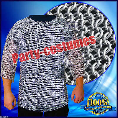 £59.99 • Buy ALUMINIUM CHAINMAIL SHIRT BUTTED ALUMINUM CHAIN MAIL HAUBERGEON MEDIEVAL S@t7