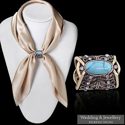 Women Scarf Buckle Ring Clip Holder Crystal Flower Silk Scarves Jewelry Brooch • 4.99£