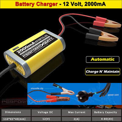 AU29.95 • Buy Trickle Battery Charger 12 Volt Charge & Maintain 2A Car Jet Ski Motorbike Mower