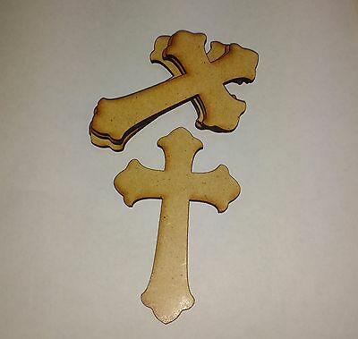 £2.63 • Buy Wooden Mdf  Large CROSS Craft Shapes Tags Tree Decor 6 PACK 3mm Thick