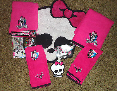£94.53 • Buy Monster High DOLL BATHROOM Shower Curtain Rug 4 Towels Soap Dispencer 7 Pieces
