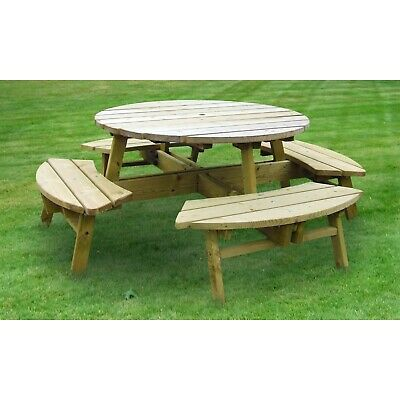 Wooden Round Pub Quality 8 Seater Picnic Table 28mm Wood Treated Bench - QUALITY • 269.95£