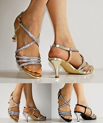 £14.99 • Buy Womens Party Prom Diamante Ankle Straps Low Kitten Heels Shoes Sandals 30-53