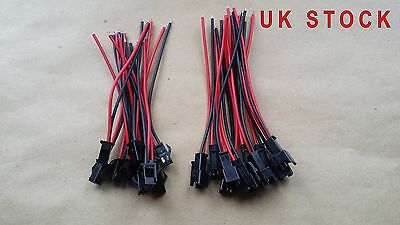 AU4.79 • Buy 10 Pairs 10cm Long JST SM 2 Pins Plug Male To Female Wire Connector