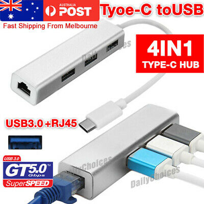 AU18.95 • Buy USB-C USB 3.1 Type C To USB HUB With RJ45 Lan Adapter For Macbook PC Laptop