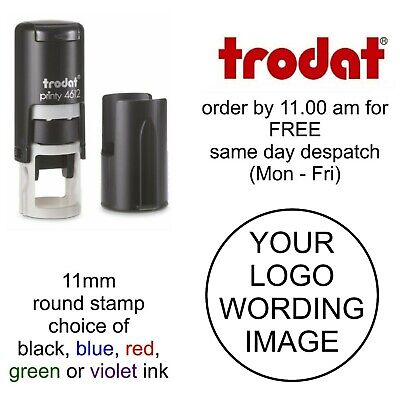 £10.95 • Buy Personalised Round Rubber Stamp Self Inking Your Logo Business Company Name 11mm