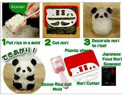 Bento Accessories Rice Ball Mold Mould With Nori Punch Sushi Panda • 7.66£