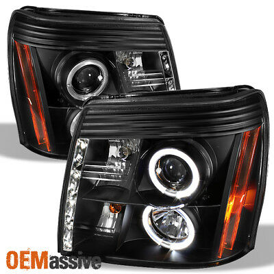 $194.99 • Buy Fits 2002-06 Cadillac Escalade Halo Projector Black Headlights W/Daytime DRL LED