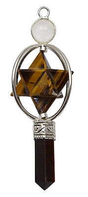 Spiritual Tiger Eye Merkaba Pencil Pendant Dowsing Pendulum Reiki Gemstones • 7.49£