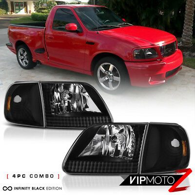 $78.43 • Buy [4PC COMBO] 1997-2003 Ford F150 Black Corner Signal Front Head Lights Lamp PAIR