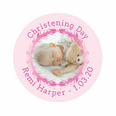 £2.75 • Buy Personalised Baby Girl Boy Christening Communion Own Photo Image Sticker Labels