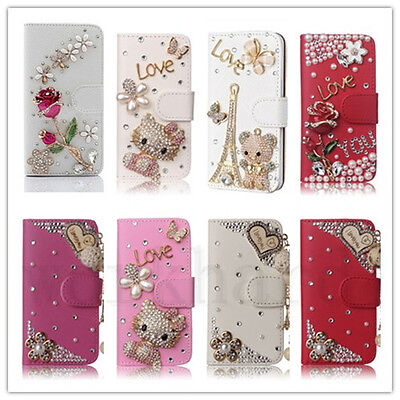 AU13.34 • Buy Girl's Luxury Bling Diamond Crystal Jewelled Leather Flip Wallet Card Case Cover