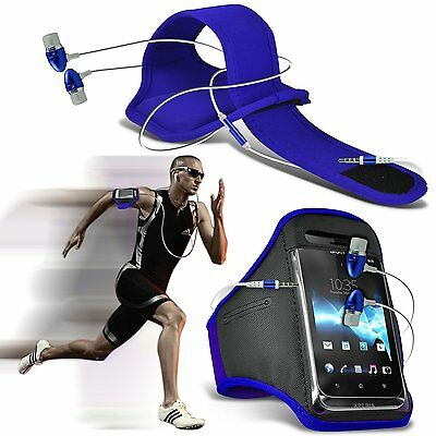 Quality Sports Armband Gym Running Phone Case Cover+In Ear Headphones✔BLUE • 6.95£