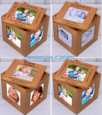 PERSONALISED WOODEN Oak Multiple PHOTO Frame Cube Keepsake BOX Unusual Gift Idea • 19.79£