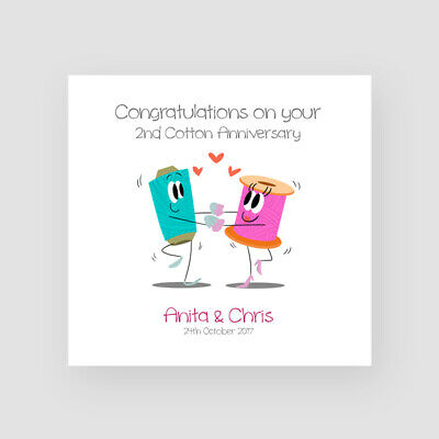 Personalised Handmade 2nd Cotton Wedding Anniversary Card - Second, Funny • 3.45£