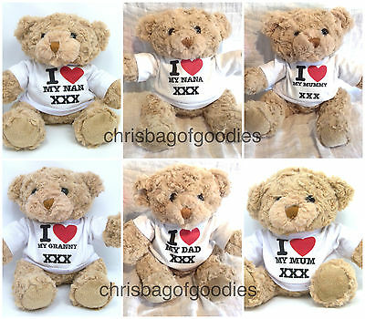 I LOVE MY MUM DAD GRANNY NANA 7 Inch TEDDY BEAR Gifts Presents Gift Present For  • 18.50£