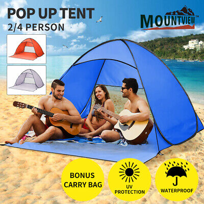 AU34.99 • Buy Mountview Pop Up Beach Tent Camping Portable Hiking Tents 2/4 Person Shelter