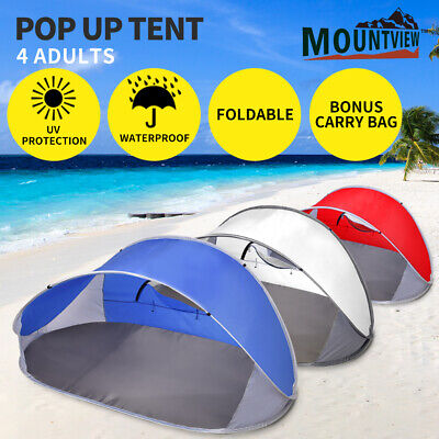 AU25.99 • Buy Mountvie Pop Up Tent Camping Beach Tents 4 Person Portable Hiking Shade Shelter