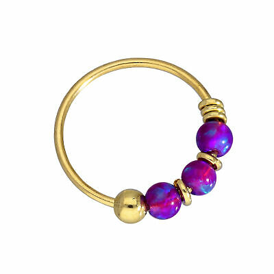 AU26.65 • Buy 9ct Gold & Coloured Opal Nose Rings Turquoise Blue Green Pink Orange Purple