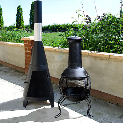 Outdoor Chiminea Garden Patio Log Burner Wood Fire Heater With Chimney    • 43.99£