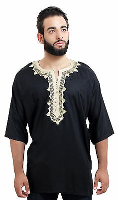 £19.11 • Buy  Moroccan Men Tunic Shirt Cafan Casual Handmade Embroidered Cotton Large Black