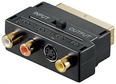 SCART Adaptor AV Block To 3 Phono Composite Or S-Video With In/Out Switch GOLD  • 2.07£