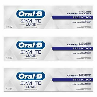 View Details 3x Oral-B 3D White Luxe Perfection Mint Toothpaste Whitening Enamel Protect 75ml • 11.37£