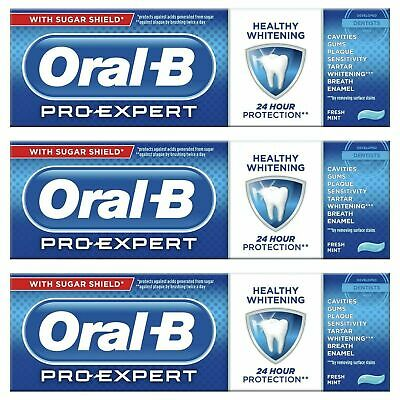 View Details 3 Oral-B Pro Expert Healthy White Fluoride Toothpaste Whitening Mint SugarShield • 9.64£