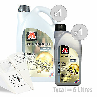 Car Engine Oil Service Kit / Pack 6 LITRES Millers Oils XF LONGLIFE 0W-40 0W40 • 58.99£