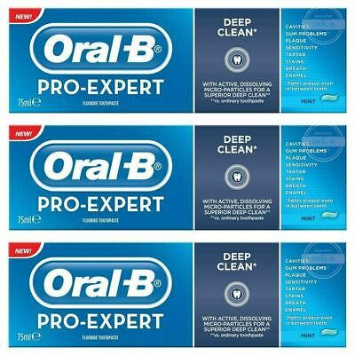 View Details 3 Oral-B Pro Expert Deep Clean Fluoride Toothpaste Whitening Mint SugarShield 75 • 7.74£