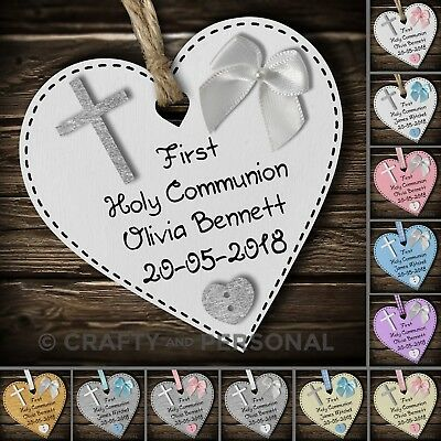Personalised 1st First Holy Communion Gift Plaque Wooden Heart Keepsake Present • 4.95£