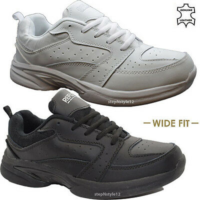 £19.95 • Buy New Mens Leather Wide Fit Trainers Trail Walking Sports Driving Lace Up Shoes