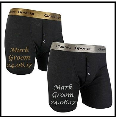 Personalised WEDDING Boxer Shorts. Any Wording Possible!  Gold/silver/white Text • 7.95£